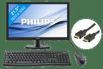 Philips 223V5LHSB2/00 + Logitech toetsenbord en muis QWERTY + hdmi kabel