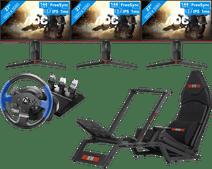 3x AOC 27G2U + F-GT Racing Cockpit + Thrustmaster T150 RS racestuur