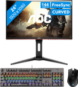 AOC C24G1 + Trust GXT865 gaming toetsenbord QWERTY + Corsair Harpoon RGB gaming muis