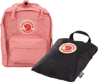 Fjällräven Kånken Mini Pink 7L + Rain Cover Mini Black - Children's Backpack