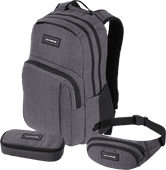 "Dakine Campus 15"" Carbon 25L + School Case + Hip Pack"