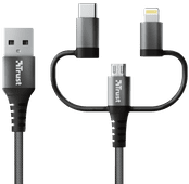 Trust Keyla 3-in-1 USB Cable 1m Aluminum