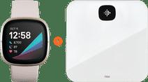 Fitbit Sense Wit/Goud + Fitbit Aria Air Wit