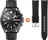 Samsung Galaxy Watch3 Zwart 45 mm + Siliconen Bandje Zwart 22mm