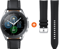 Samsung Galaxy Watch3 Zilver 45 mm + Siliconen Bandje Zwart 22mm