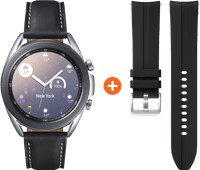 Samsung Galaxy Watch3 Zilver 41 mm + Siliconen Bandje Zwart 20mm