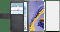 Azuri Wallet Samsung Galaxy A51 Book Case Black + Case Friendly Screen Protector Glass