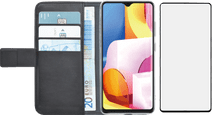 Azuri Wallet Samsung Galaxy A71 Book Case Black + Case Friendly Screen Protector Glass
