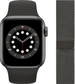 Apple Watch Series 6 40mm Space Gray Aluminium Zwarte Sportband + Milanees Grafiet