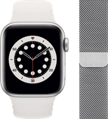 Apple Watch Series 6 40mm Silver Aluminum White Sport Band + Watch Strap Milanese Silver