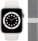Apple Watch Series 6 44mm Silver Aluminum White Sport Band + Watch Strap Milanese Silver