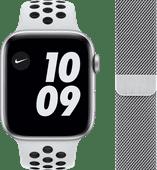 Apple Watch Nike Series 6 44mm Zilver Aluminium Witte Sportband + Polsband Milanees Zilver