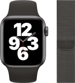 Apple Watch SE 40mm Space Gray Aluminum Black Sport Band + Watch Strap Milanese Graphite