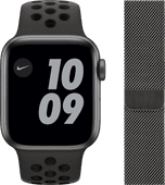 Apple Watch Nike SE 40mm Space Gray Aluminum Black Sport Band + Watch Strap Milanese Graph