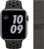 Apple Watch Nike SE 44mm Space Gray Aluminium Zwarte Sportband + Polsband Milanees Grafiet