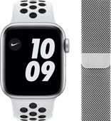 Apple Watch Nike SE 44mm Silver Aluminum White Sport Band + Watch Strap Milanese Silver