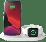 Belkin 3-in-1 Draadloze Oplader 7,5W met Standaard en Apple Watch Oplader Wit Draadloze oplader voor Apple Watch