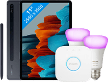 Samsung Galaxy Tab S7 128 GB Wifi + 4G Zwart + Philips Hue Starter Pack E27 met 2 lampen