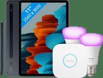 Samsung Galaxy Tab S7 256 GB Wifi + 4G Zwart + Philips Hue Starter Pack E27 met 2 lampen