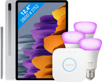 Samsung Galaxy Tab S7 Plus 128 GB Wifi Zilver + Philips Hue Starter Pack E27 met 3 lampen