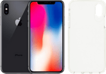 Refurbished iPhone X 64GB Space Gray + GEAR4 Crystal Palace Back Cover Transparant