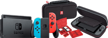 Nintendo Switch (2019 Upgrade) Rood/Blauw + Bigben Nintendo Switch Travel Case Zwart