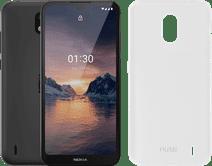 Nokia 1.3 16GB Zwart + Azuri TPU Nokia 1.3 Back Cover Transparant