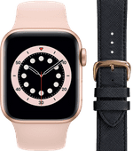 Apple Watch Series 6 40mm Rose Gold Pink Sand Strap + DBramante1928 Leather Strap Black/Ro