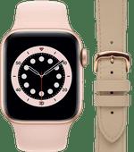Apple Watch Series 6 40mm Roségoud Roze Bandje + DBramante1928 Leren Bandje Crème/Roségoud