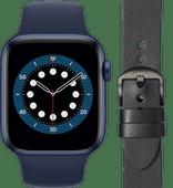 Apple Watch Series 6 44mm Blue Deep Navy Strap + DBramante1928 Leather Strap Black/Space G