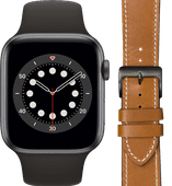 Apple Watch Series 6 44mm Space Gray Zwart Bandje + DBramante1928 Leren Bandje Bruin