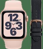 Apple Watch SE 40mm Rose Gold Pink Sand Strap + DBramante1928 Leather Strap Black/Rose Gol