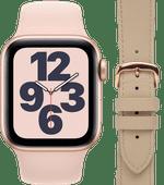 Apple Watch SE 40mm Roségoud Roze Bandje + DBramante1928 Leren Bandje Crème/Roségoud