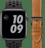 Apple Watch Nike SE 44mm Space Gray Black Strap + DBramante1928 Leren Strap Brown