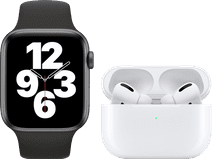 Apple Watch SE 44mm Space Gray Black Strap + Apple AirPods Pro with Wireless Charging Case