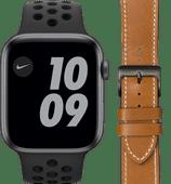 Apple Watch Nike Series 6 44mm Space Gray Zwart Bandje+ DBramante1928 Leren Bandje Bruin