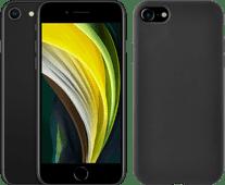 Refurbished iPhone SE 64GB Zwart + Azuri Back Cover Siliconen Zwart