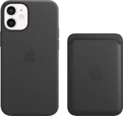 Apple iPhone 12 Mini Back Cover with MagSafe Leather Black + Leather Card Wallet with MagS