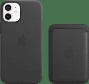Apple iPhone 12 mini Back Cover met MagSafe Leer Zwart + Leren Kaarthouder met MagSafe