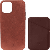 Decoded Apple iPhone 12 / 12 Pro Back Cover MagSafe Magnet Leather Brown + Leather Card Wa