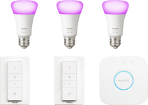 Philips Hue White & Colour Starter Pack E27 met 3 lampen + 2 dimmers