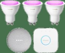 Philips Hue White & Color Starter Pack GU10 + Google Nest Mini White