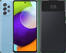 Samsung Galaxy A52 128GB Blauw 4G + Samsung Smart S View Wallet Cover Zwart