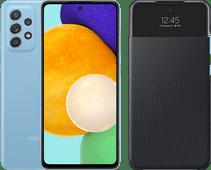 Samsung Galaxy A52 128GB Blauw 5G + Samsung Smart S View Wallet Cover Zwart