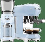 SMEG ECF01PBEU Pastelblauw + Koffiemolen