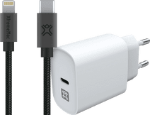 XtremeMac Oplader 20W Power Delivery Wit + Usb C naar Lightning Kabel 2m Grijs