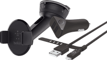 Belkin Universele Autohouder Dashboard/Voorruit + BlueBuilt Autolader met Lightning Kabel