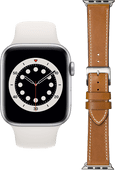 Apple Watch Series 6 44mm Zilver Wit Bandje + DBramante1928 Leren Bandje Bruin/Zilver