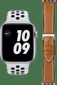 Apple Watch Nike Series 6 44mm Zilver Wit Bandje + DBramante1928 Leren Bandje Bruin/Zilver
