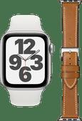 Apple Watch SE 44mm Zilver Wit Bandje + DBramante1928 Leren Bandje Bruin/Zilver